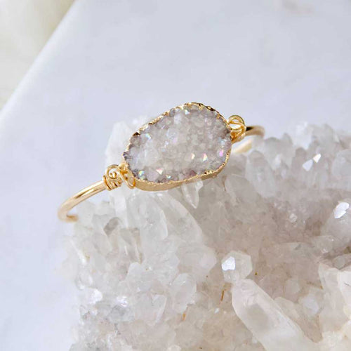 Gold hand wrapped druzy bracelet.