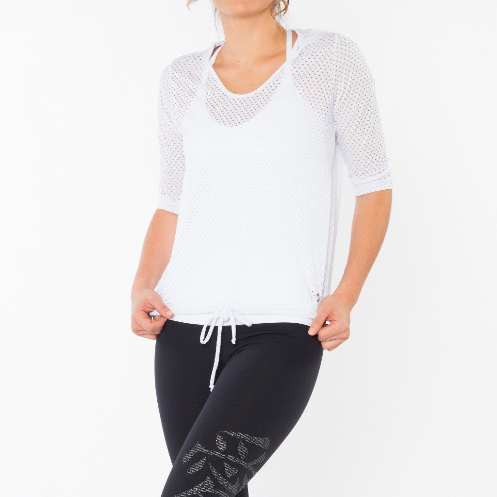 White mesh hoody with drawstring waist.