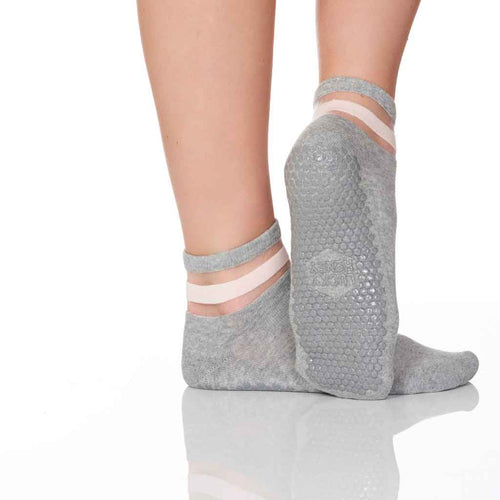 A light grey sheer 2-panel crew style grip sock for barre, pilates and yoga.