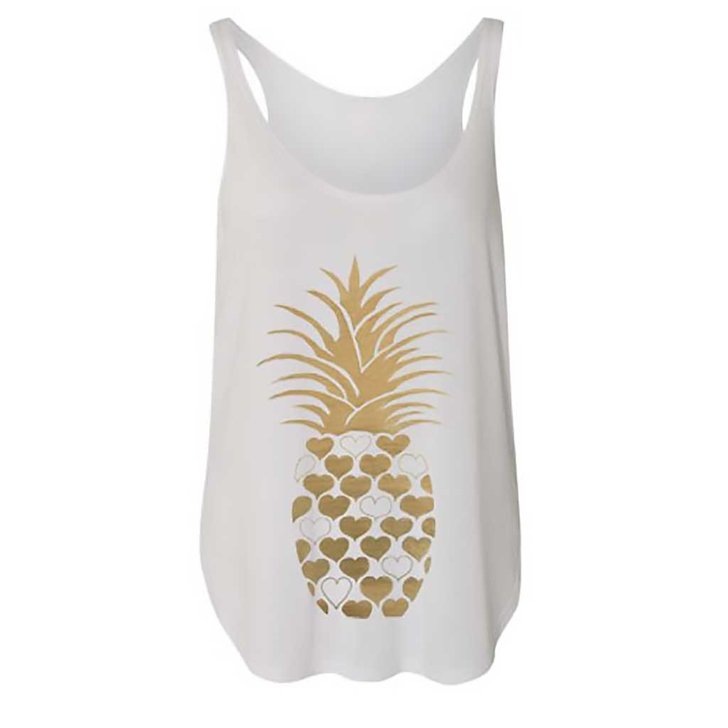 Pineapple Flowy Side Slit Tank - Binka - Palm Beach Athletic Wear