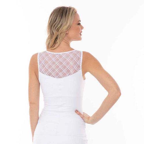 Romance Cami - White women's activewear tank top with beautiful back detail by Bluefish Sport.
