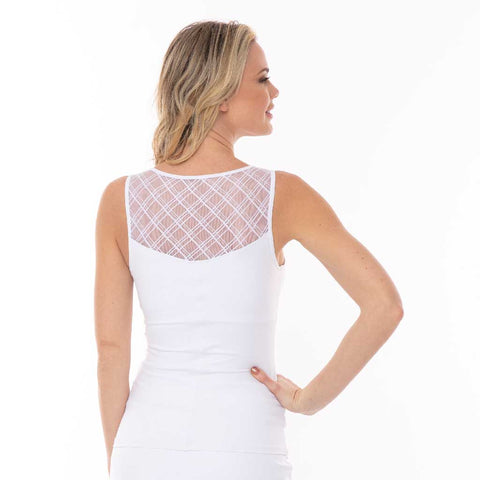 Mia 2-Way White Mesh Tank