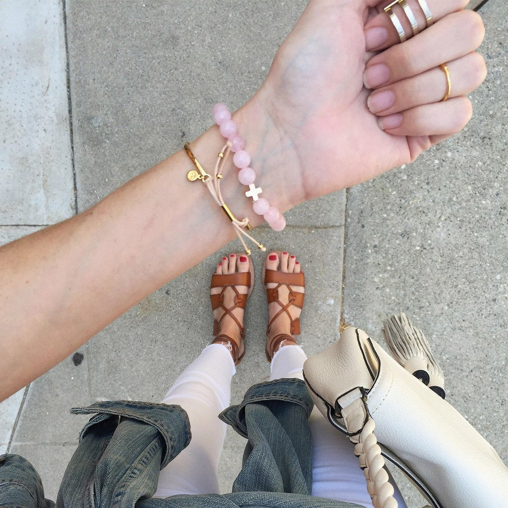 Rose Quartz & Gold Elastic Bracelet - Charged - Palm Beach Athletic Wear
