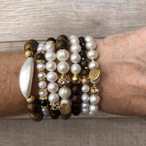 Thrilla in Vanilla Pearl and Wood Bead Bracelet -JOM Jewelry