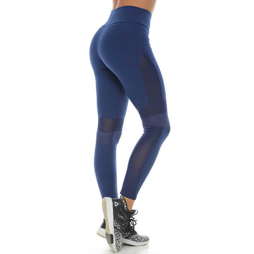 Navy blue leggings with mesh panels and a mid-rise waistband by Protokolo Women's Sportswear.