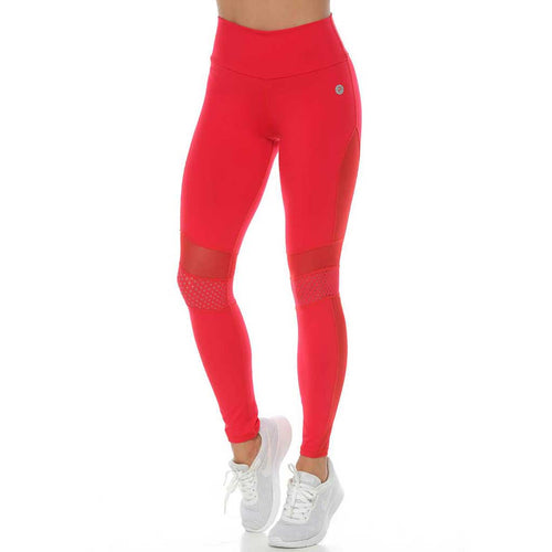 Tasha red activewear leggings with mesh panels and a mid-rise waistband.