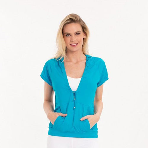 Turquoise activewear hoody with a drawstring neckline and kangaroo pocket.