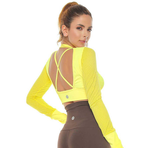 Verna Lemon Green Long Sleeve Crop Top
