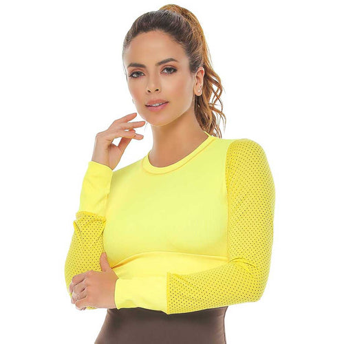 Verna Yellow Long Sleeve Open Back Activewear Crop Top.