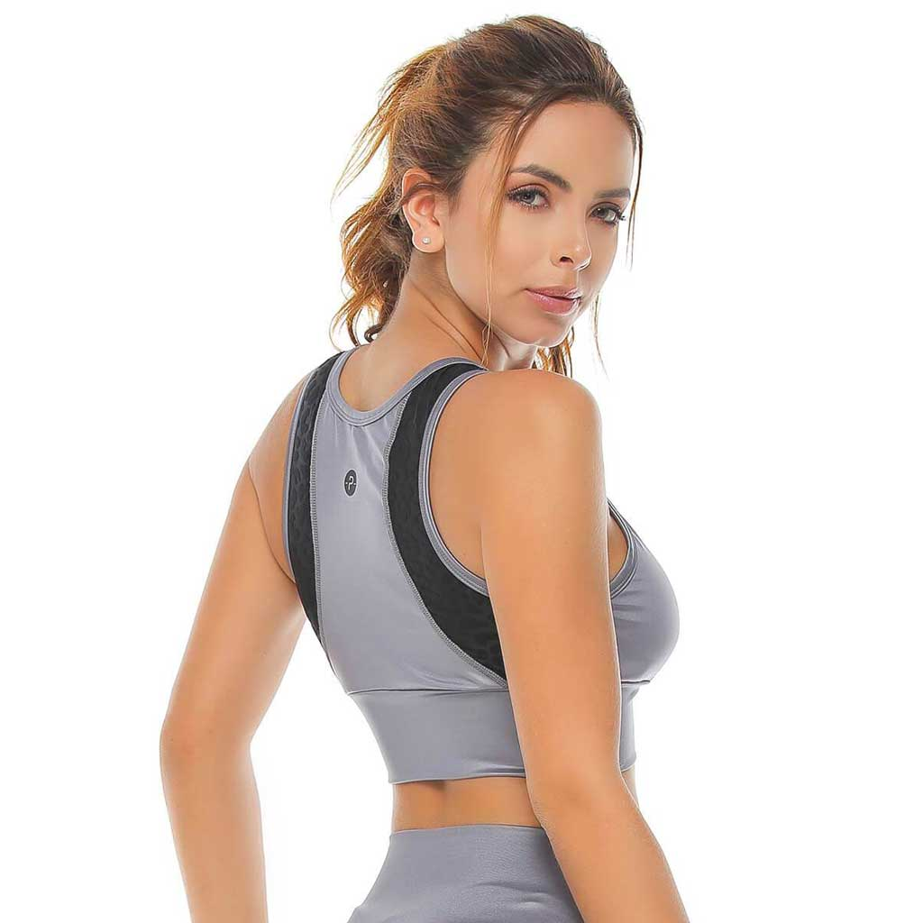 Victoria gray and black metallic look sports bra with mesh detailing. Protokolo Sportswear.