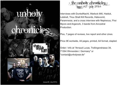 Unholy Chronicles Zine - #2