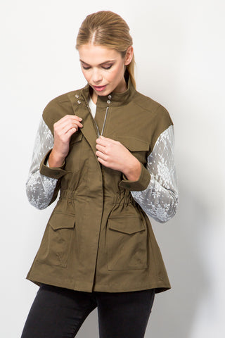 Cargo Jacket With Lace