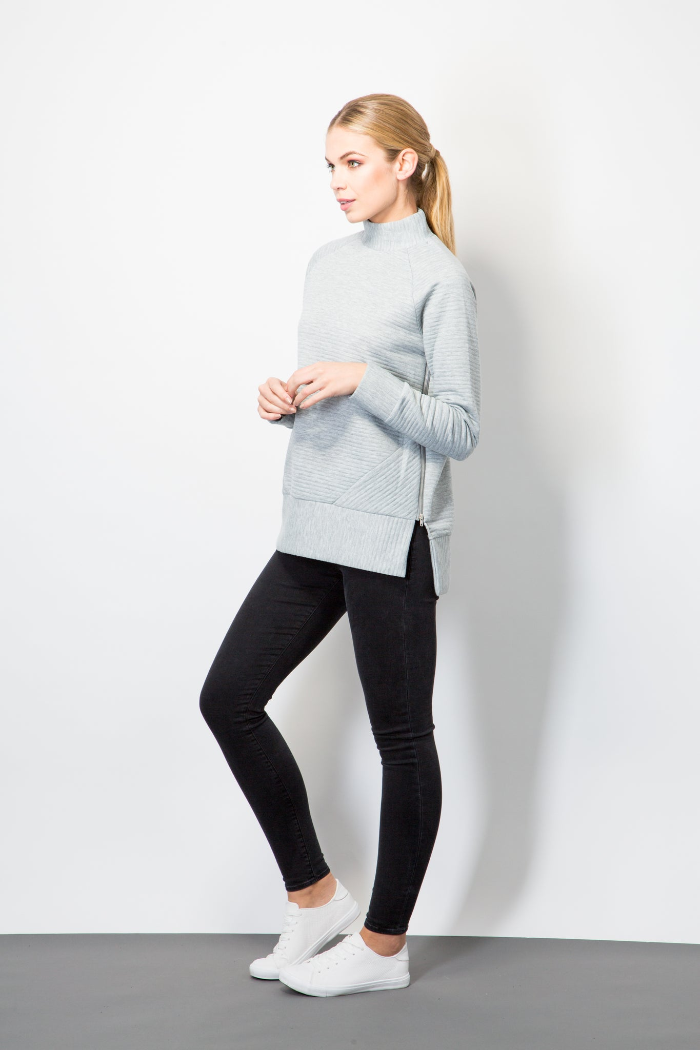 Raglan Rib Top With Side Zip