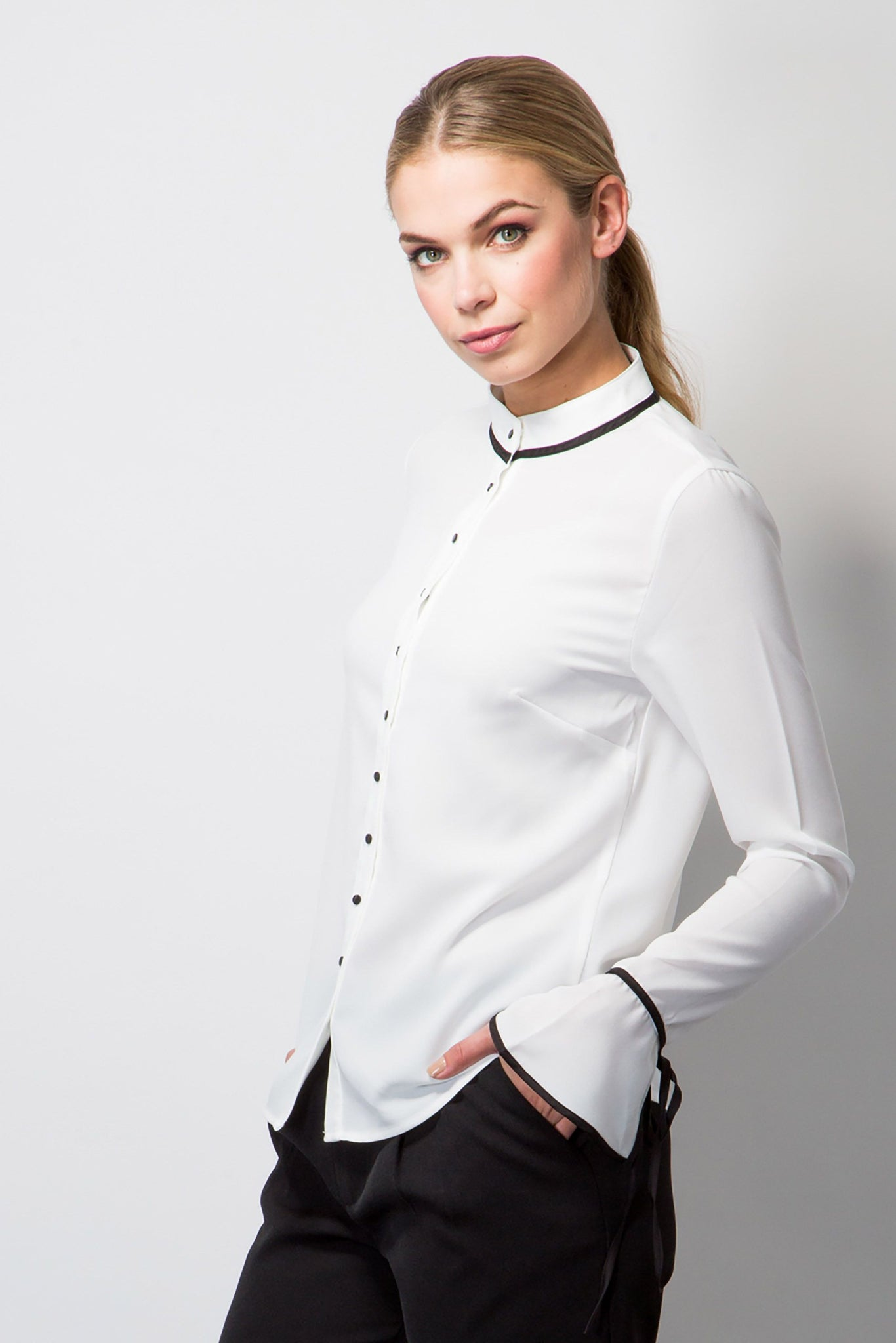 Blouse with cuff ties-Tops-BeBlush