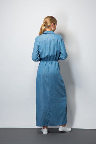 Chambray Maxi Shirt Dress