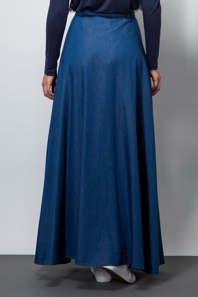 Chambray maxi skirt-Skirts-BeBlush