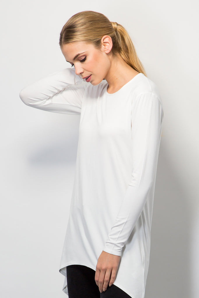 Jersey top with curved hem-Tops-BeBlush