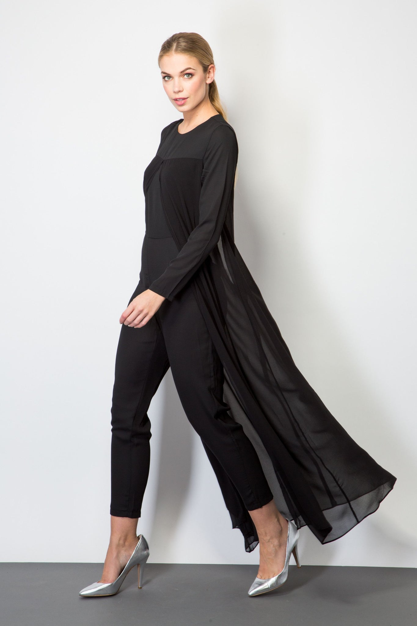 Jumpsuits Black Jumpsuit With Sheer Cape Beblush Fashion