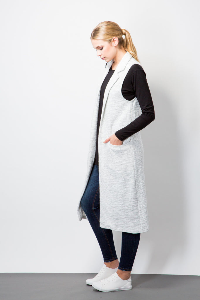 Longline Sleeveless Cardigan-Cardigans-BeBlush