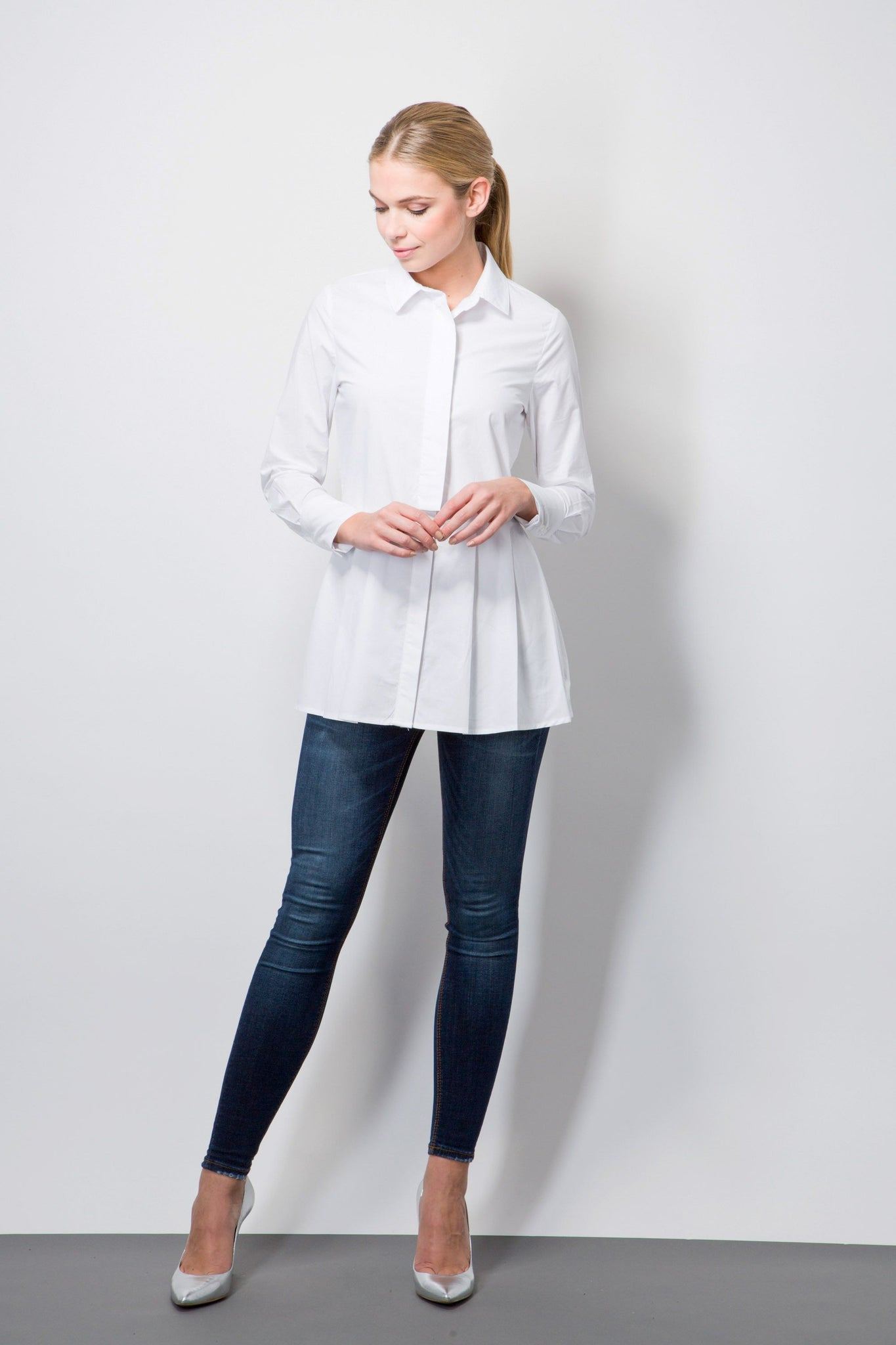 Pleated peplum shirt-Tops-BeBlush