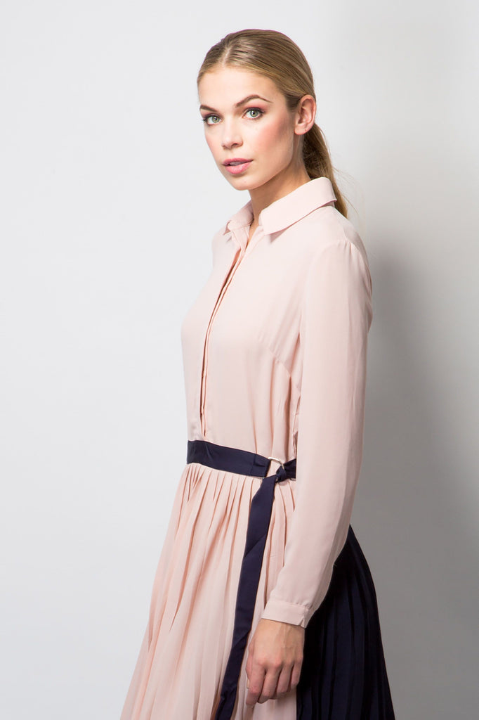 Pleated Shirt Dress-Dresses-BeBlush