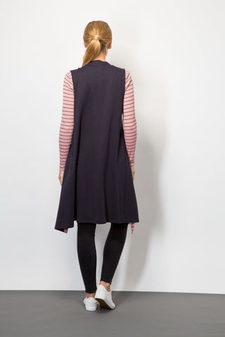 Raw-Edge Sleeveless Cardigan