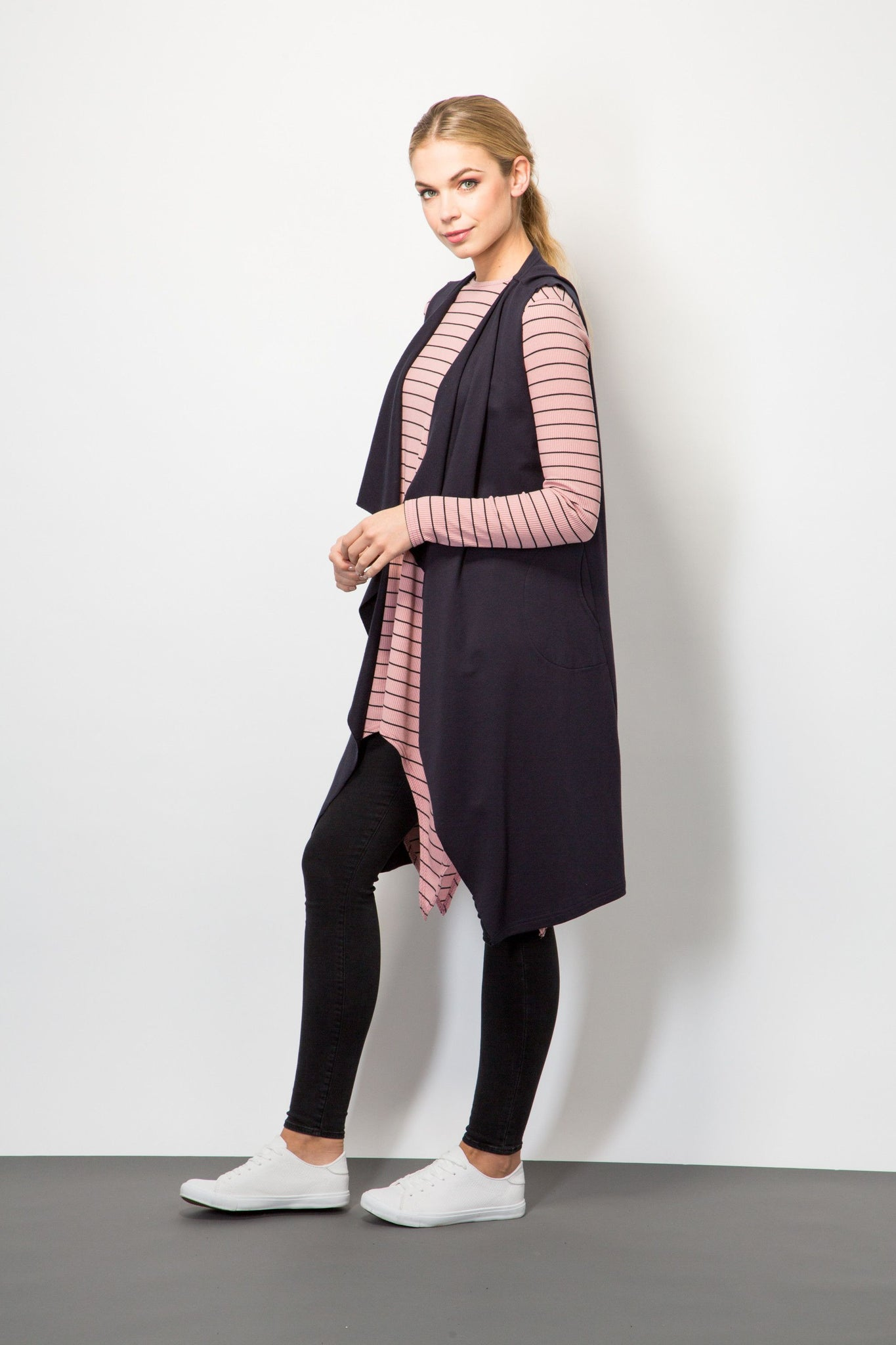 Raw-Edge Sleeveless Cardigan-Blazers-BeBlush