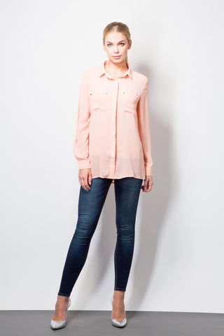 Shirt with stud detail-Tops-BeBlush