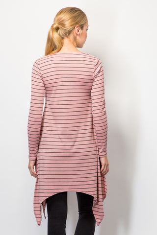 Striped Rib Handkerchief Hem Top