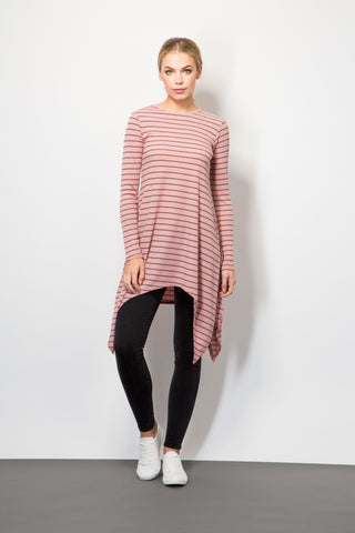 Striped Rib Handkerchief Hem Top-Tops-BeBlush