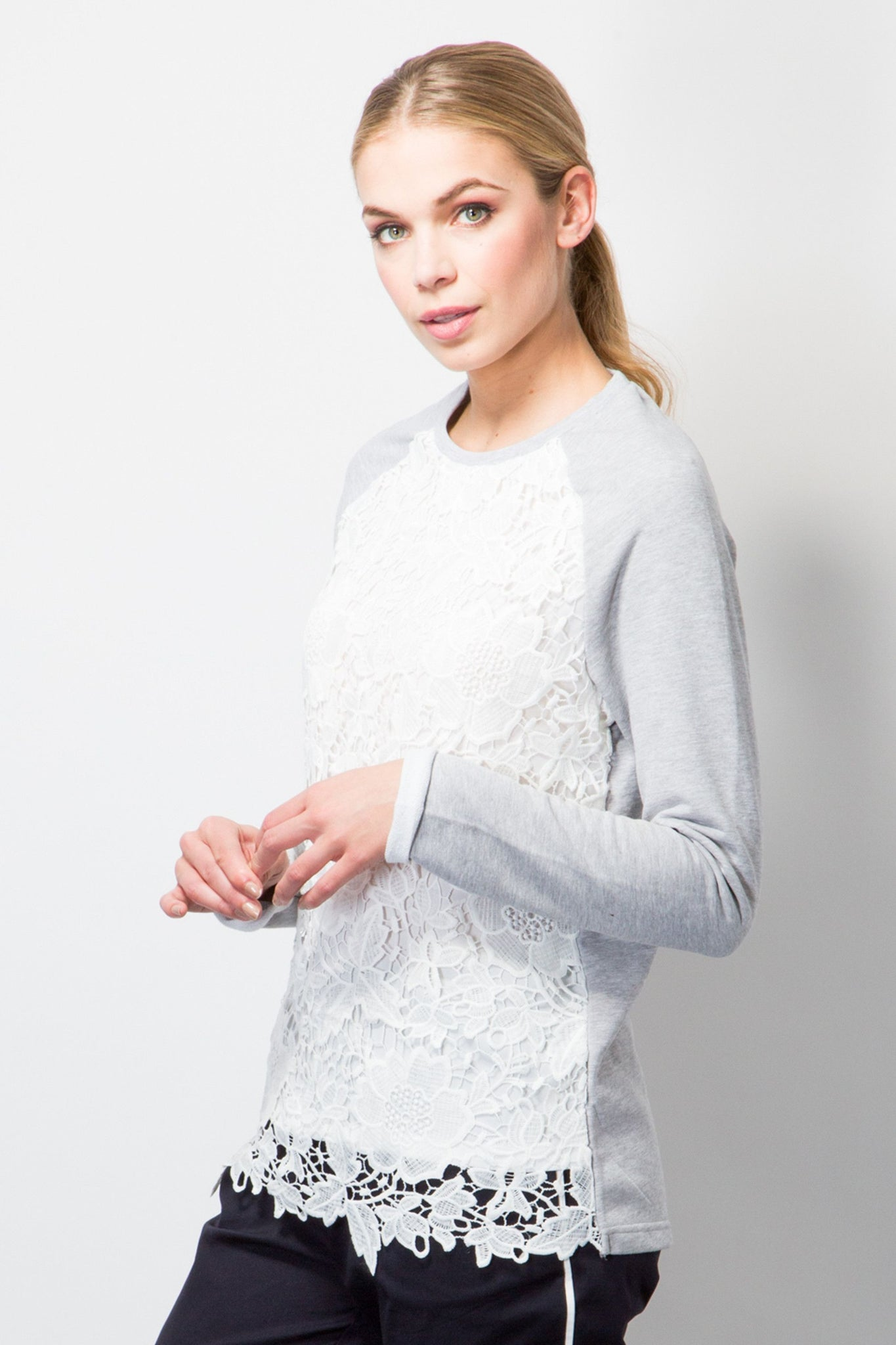 Sweatshirt With Lace Front-Tops-BeBlush