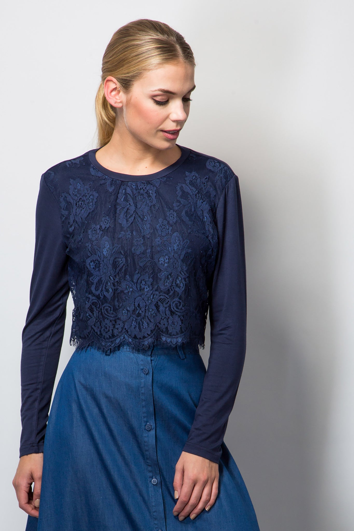 Top with lace panel-Tops-BeBlush