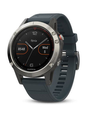 Garmin Fenix 5 Silver with Granite Blue Band Multisport GPS Watch