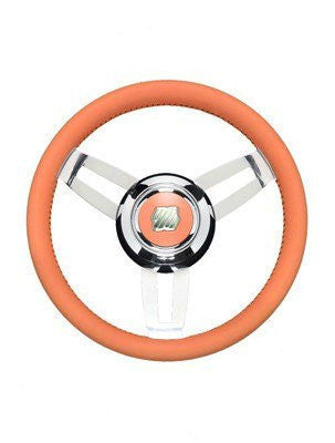 ULTRAFLEX MOROSINI 3 SPOKE, ORANGE LEATHER GRIP & CHROME HUB STEERING WHEEL
