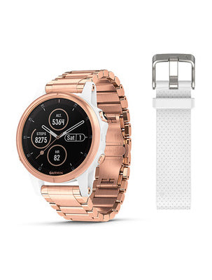 Fenix 5S Plus Sapphire, White with Rose Gold-tone Metal Band