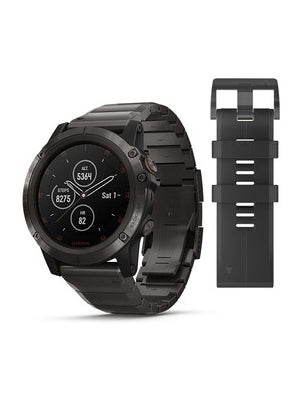 Fenix 5X Plus Sapphire, Black with Black Band