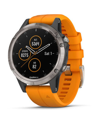 Fenix 5 Plus Sapphire, Titanium with Solar Flare Orange Band