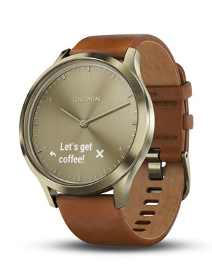 Vivomove HR Gold Tone with Light Brown Leather Band (Small/Medium)