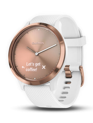 Vivomove HR Rose Gold Tone with White Silicone Band (Small/Medium)