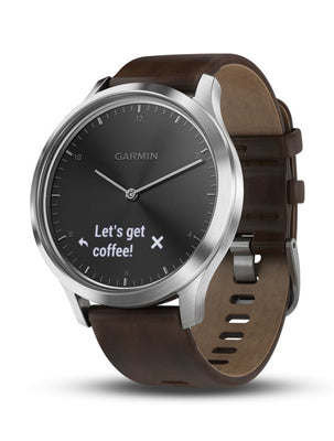 Vivomove HR Silver Tone with Dark Brown Leather Band (Large)