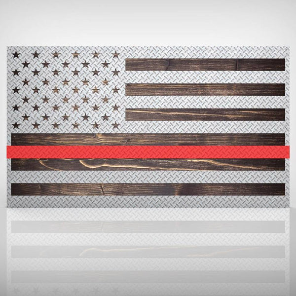 US Diamond Plate Flag - Firefighter Edition