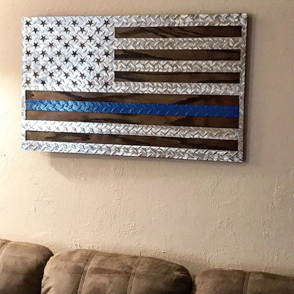 US Diamond Plate Flag - Law Enforcement Edition