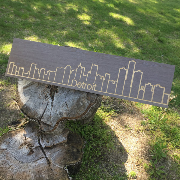 Detroit Skyline (Routed on Wood)