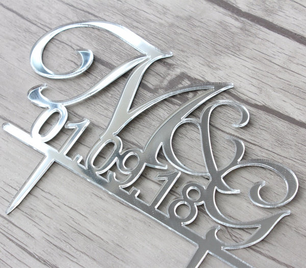 Initials & Date Wedding Cake Topper