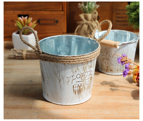 Vintage Metal Flower Pot - life after yes