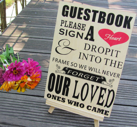 """Please Sign A Heart"" Wooden Wedding Sign for Drop Heart Guestbook"