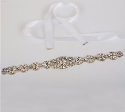 Decorated Rhinestone Bridal Sash in 15 Colors - life after yes