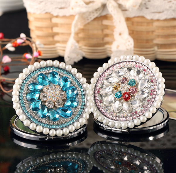 Crystal Flower Compact Mirror
