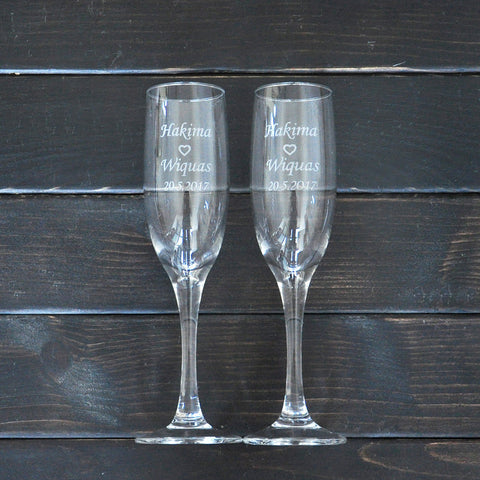 Bride and Groom Personalized Champagne Glasses - life after yes