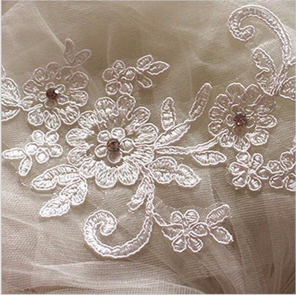 One-Layer Beaded Appliqued White or Ivory Veil - life after yes